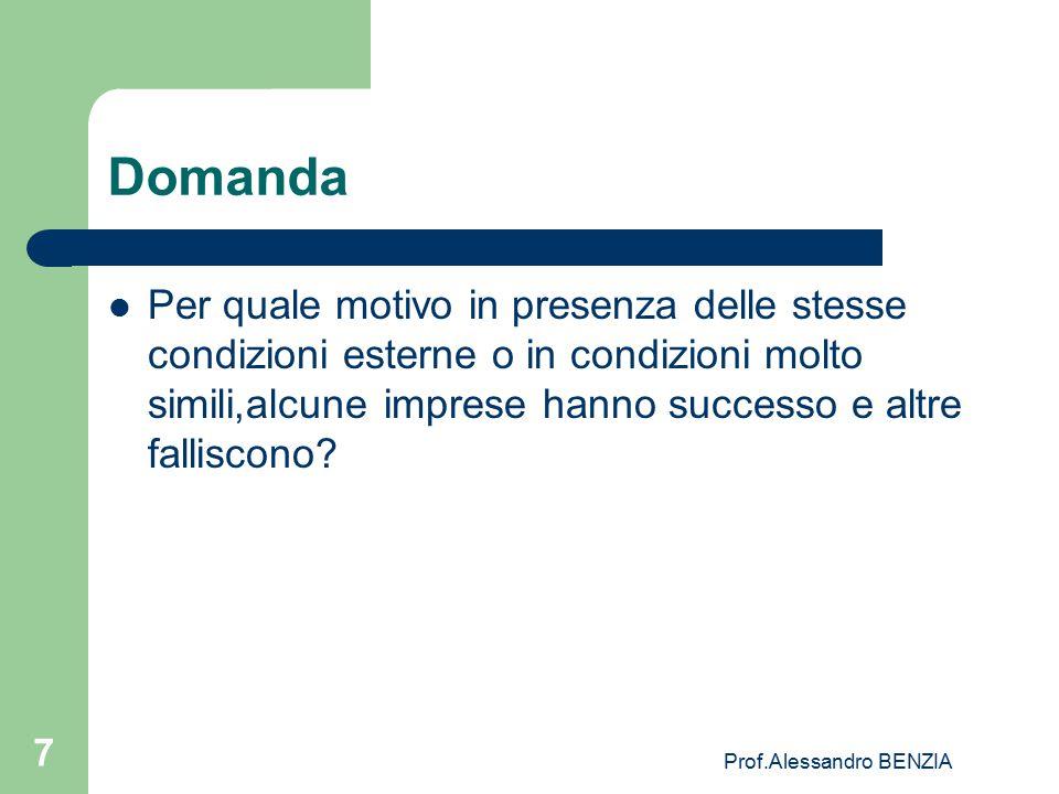 Prof.Alessandro BENZIA 7 Domanda Per quale motivo in presenza delle stesse condizioni esterne o in condizioni molto simili,alcune imprese hanno succes