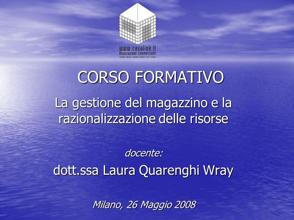 CORSO FORMATIVO La gestione del magazzino e la razionalizzazione delle risorse docente: dott.ssa Laura Quarenghi Wray Milano, 26 Maggio 2008