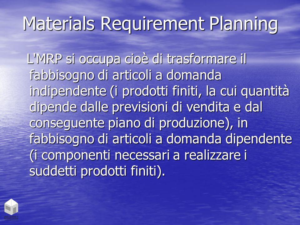 Materials Requirement Planning L'MRP si occupa cioè di trasformare il fabbisogno di articoli a domanda indipendente (i prodotti finiti, la cui quantit