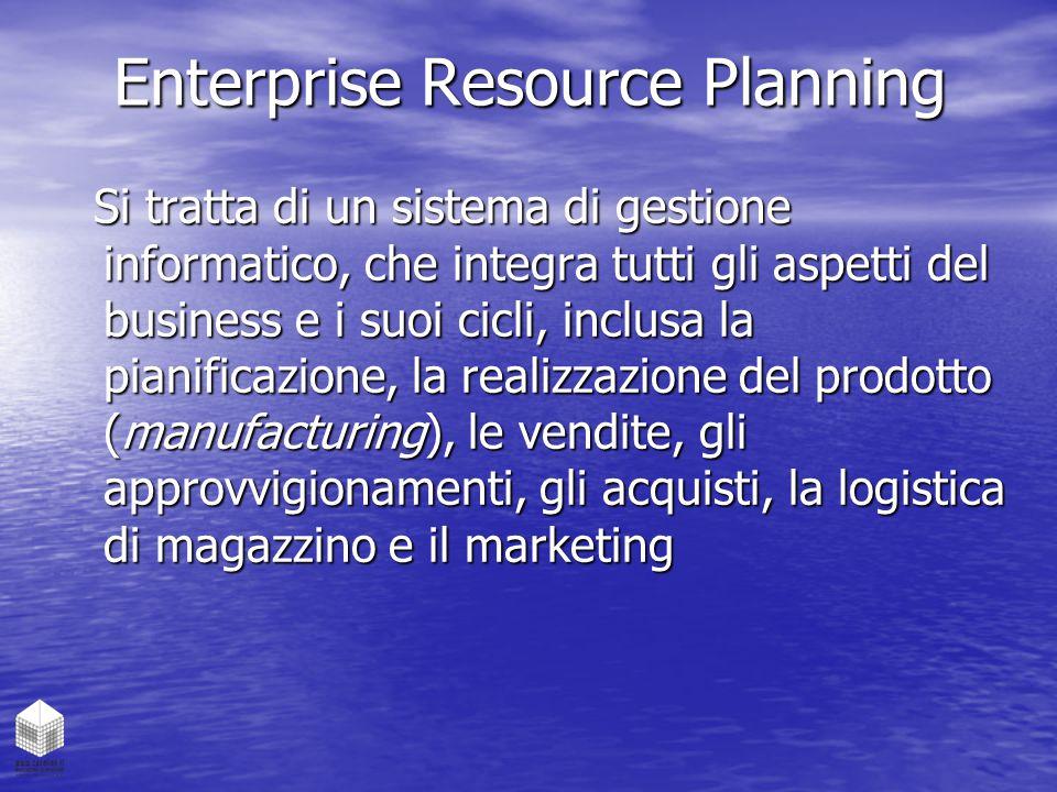 Enterprise Resource Planning Si tratta di un sistema di gestione informatico, che integra tutti gli aspetti del business e i suoi cicli, inclusa la pi