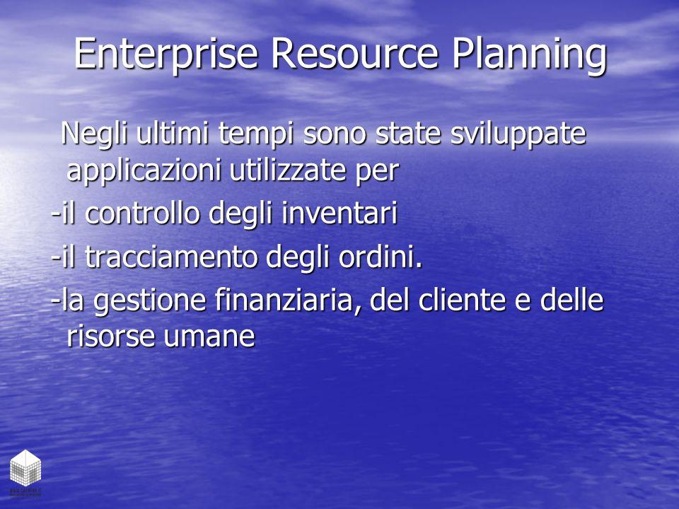 Enterprise Resource Planning Negli ultimi tempi sono state sviluppate applicazioni utilizzate per Negli ultimi tempi sono state sviluppate applicazion