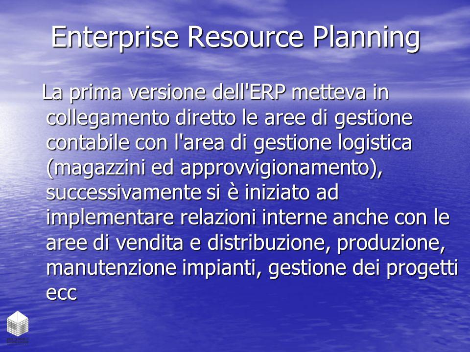 Enterprise Resource Planning La prima versione dell'ERP metteva in collegamento diretto le aree di gestione contabile con l'area di gestione logistica