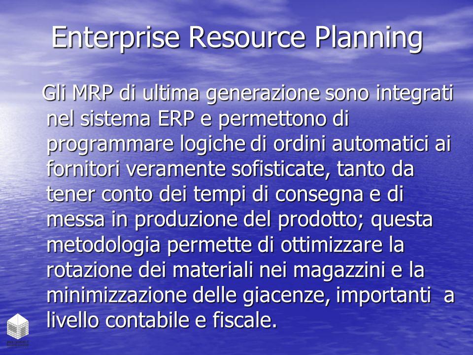 Enterprise Resource Planning Gli MRP di ultima generazione sono integrati nel sistema ERP e permettono di programmare logiche di ordini automatici ai