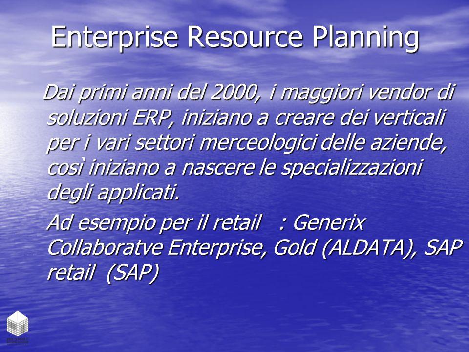 Enterprise Resource Planning Dai primi anni del 2000, i maggiori vendor di soluzioni ERP, iniziano a creare dei verticali per i vari settori merceolog