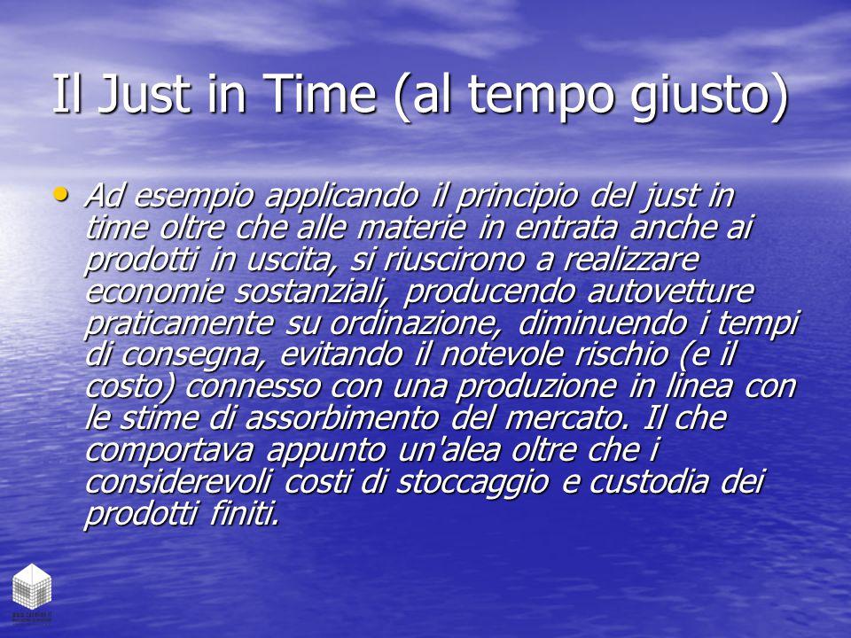 Il Just in Time (al tempo giusto) Ad esempio applicando il principio del just in time oltre che alle materie in entrata anche ai prodotti in uscita, s