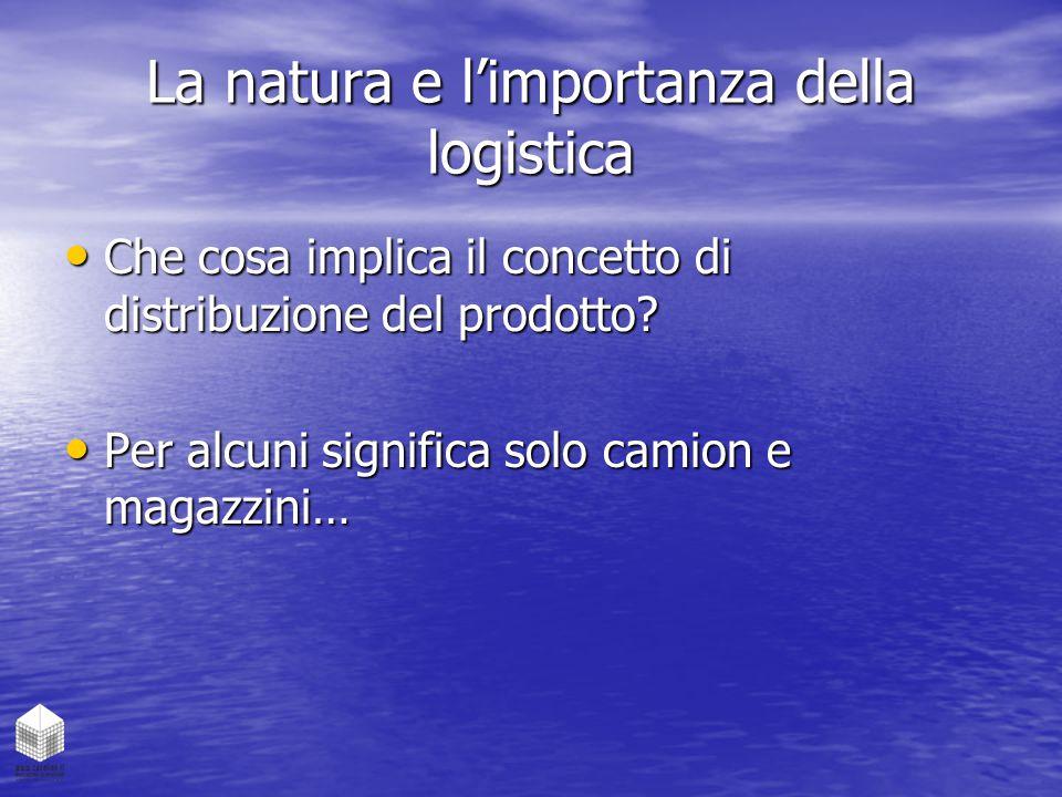 La natura e l'importanza della logistica Che cosa implica il concetto di distribuzione del prodotto? Che cosa implica il concetto di distribuzione del