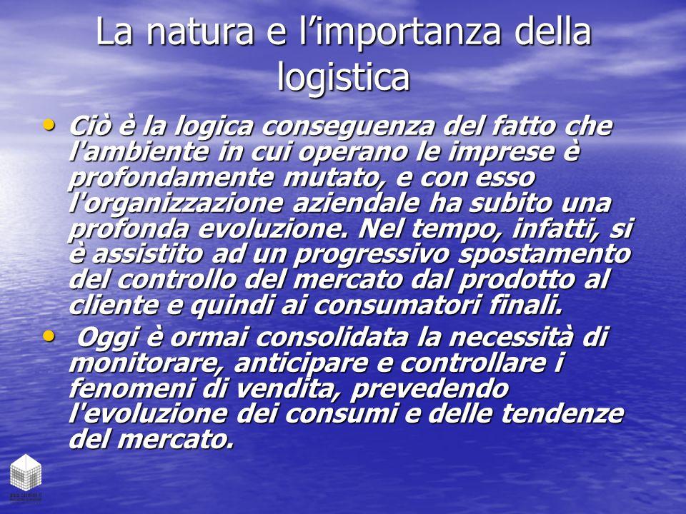 La natura e l'importanza della logistica Ciò è la logica conseguenza del fatto che l'ambiente in cui operano le imprese è profondamente mutato, e con