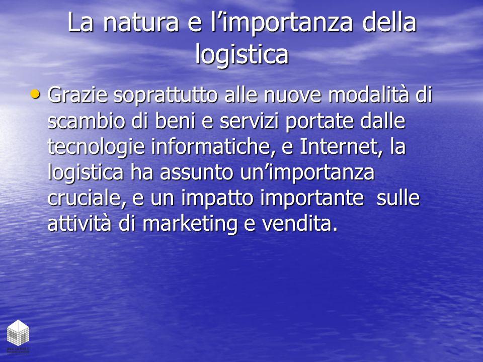 La natura e l'importanza della logistica Grazie soprattutto alle nuove modalità di scambio di beni e servizi portate dalle tecnologie informatiche, e