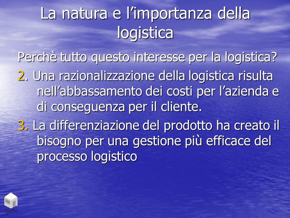 La natura e l'importanza della logistica Perchè tutto questo interesse per la logistica? 2. Una razionalizzazione della logistica risulta nell'abbassa