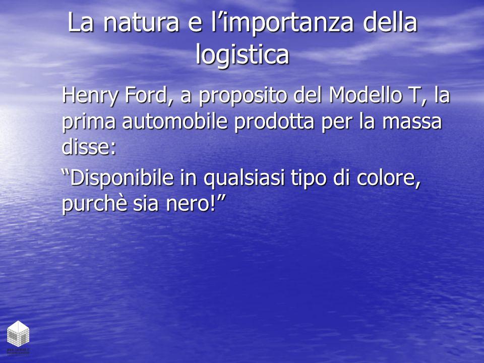 """La natura e l'importanza della logistica Henry Ford, a proposito del Modello T, la prima automobile prodotta per la massa disse: """"Disponibile in quals"""