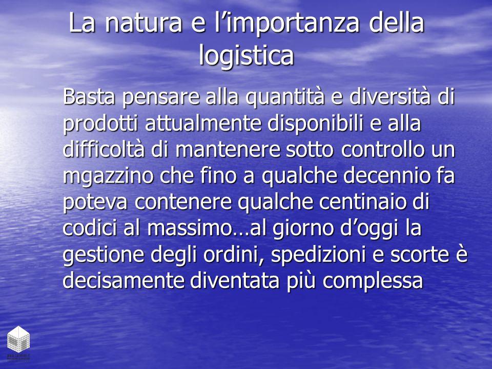 La natura e l'importanza della logistica Basta pensare alla quantità e diversità di prodotti attualmente disponibili e alla difficoltà di mantenere so