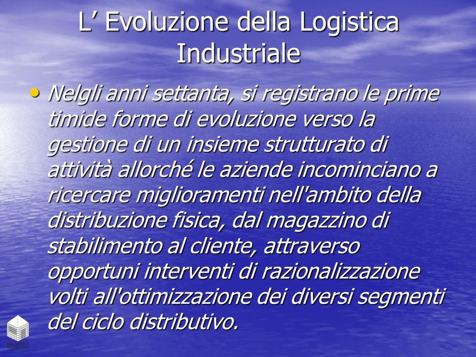 L' Evoluzione della Logistica Industriale Nelgli anni settanta, si registrano le prime timide forme di evoluzione verso la gestione di un insieme stru