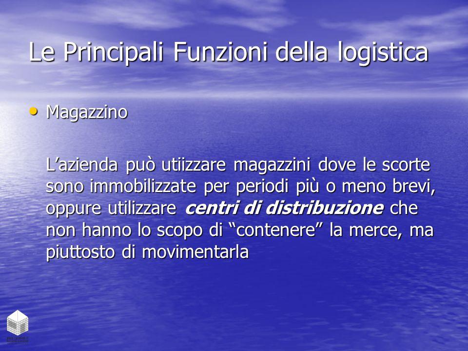 Le Principali Funzioni della logistica Magazzino Magazzino L'azienda può utiizzare magazzini dove le scorte sono immobilizzate per periodi più o meno