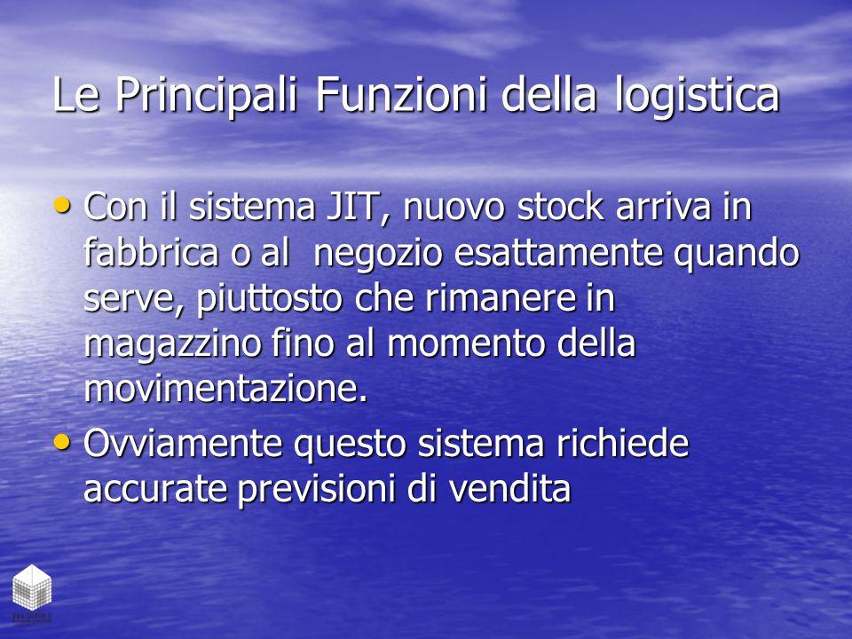 Le Principali Funzioni della logistica Con il sistema JIT, nuovo stock arriva in fabbrica o al negozio esattamente quando serve, piuttosto che rimaner