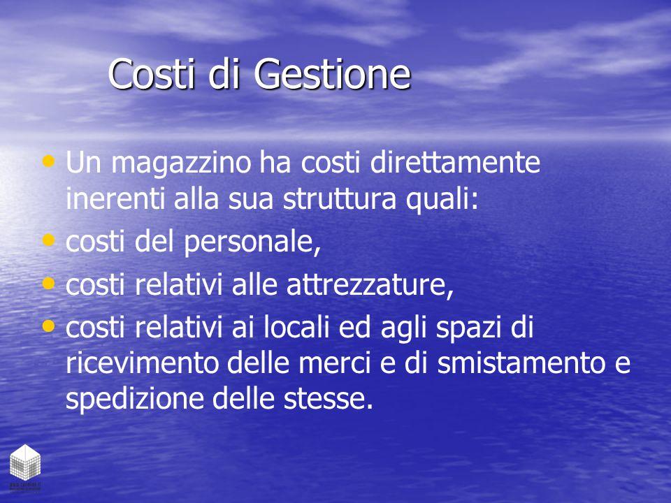 Costi di Gestione Un magazzino ha costi direttamente inerenti alla sua struttura quali: costi del personale, costi relativi alle attrezzature, costi r
