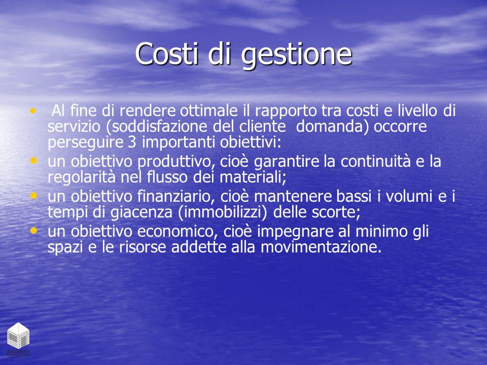 Costi di gestione Al fine di rendere ottimale il rapporto tra costi e livello di servizio (soddisfazione del cliente domanda) occorre perseguire 3 imp