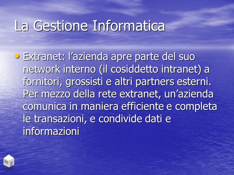 La Gestione Informatica Extranet: l'azienda apre parte del suo network interno (il cosiddetto intranet) a fornitori, grossisti e altri partners estern