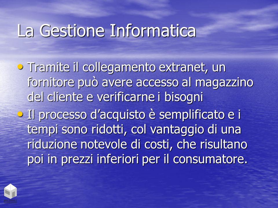 La Gestione Informatica Tramite il collegamento extranet, un fornitore può avere accesso al magazzino del cliente e verificarne i bisogni Tramite il c