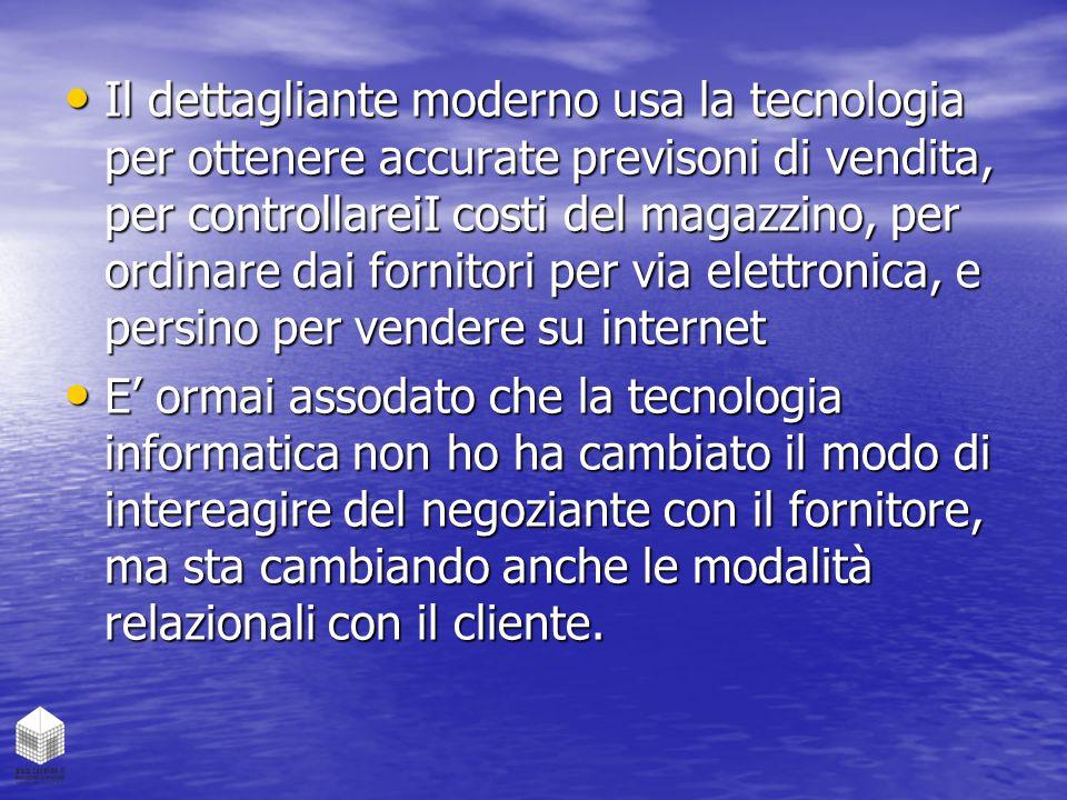 Il dettagliante moderno usa la tecnologia per ottenere accurate previsoni di vendita, per controllareiI costi del magazzino, per ordinare dai fornitor