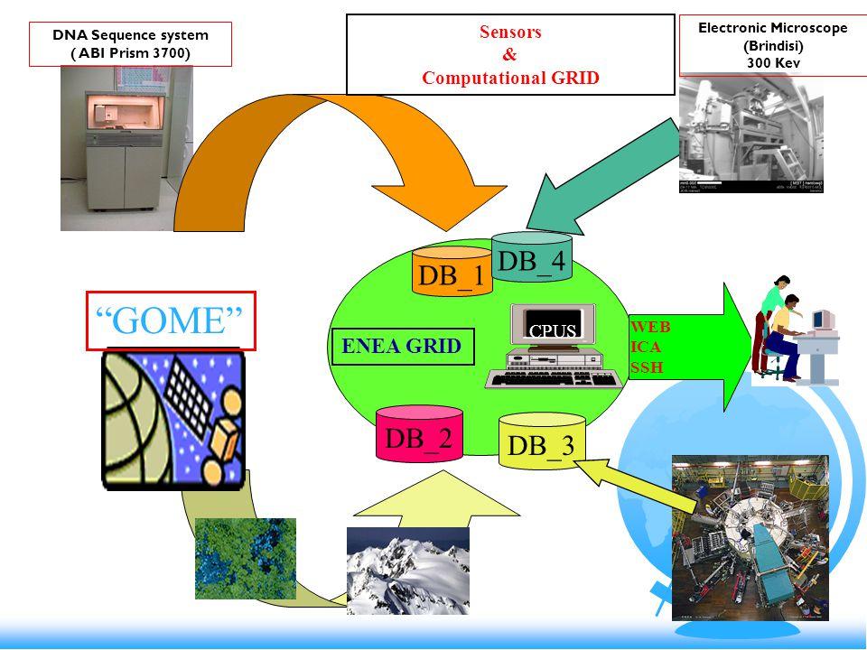 DB_2 DB_1 CPUS ENEA GRID WEB ICA SSH Sensors & Computational GRID DNA Sequence system ( ABI Prism 3700) GOME DB_3 DB_4 Electronic Microscope (Brindisi) 300 Kev