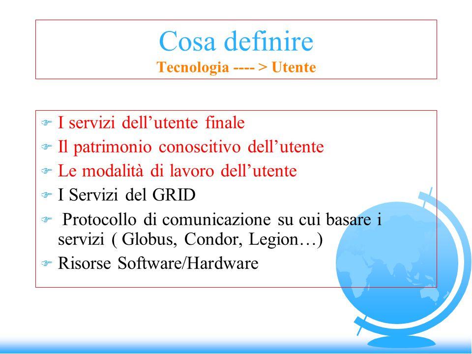 Cosa definire Tecnologia ---- > Utente F I servizi dell'utente finale F Il patrimonio conoscitivo dell'utente F Le modalità di lavoro dell'utente F I Servizi del GRID F Protocollo di comunicazione su cui basare i servizi ( Globus, Condor, Legion…) F Risorse Software/Hardware
