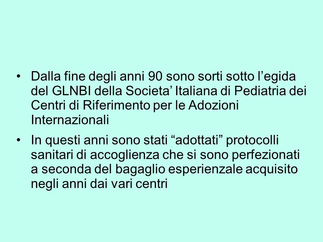 Dalla fine degli anni 90 sono sorti sotto l'egida del GLNBI della Societa' Italiana di Pediatria dei Centri di Riferimento per le Adozioni Internazionali In questi anni sono stati adottati protocolli sanitari di accoglienza che si sono perfezionati a seconda del bagaglio esperienzale acquisito negli anni dai vari centri