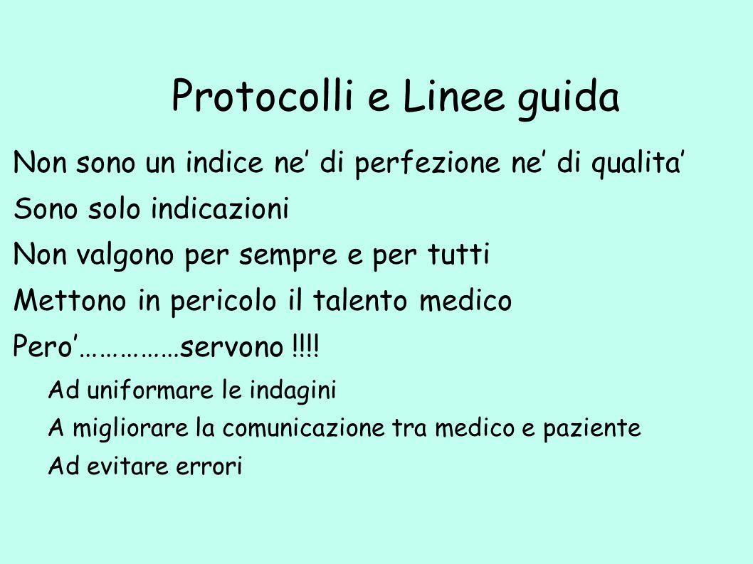 Protocolli e Linee guida Non sono un indice ne' di perfezione ne' di qualita' Sono solo indicazioni Non valgono per sempre e per tutti Mettono in peri