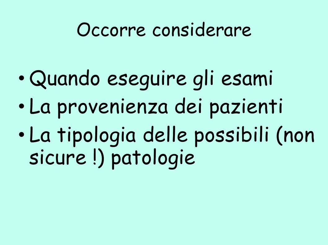 Occorre considerare Quando eseguire gli esami La provenienza dei pazienti La tipologia delle possibili (non sicure !) patologie