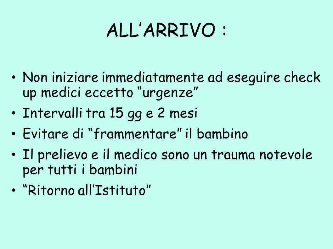 """ALL'ARRIVO : Non iniziare immediatamente ad eseguire check up medici eccetto """"urgenze"""" Intervalli tra 15 gg e 2 mesi Evitare di """"frammentare"""" il bambi"""