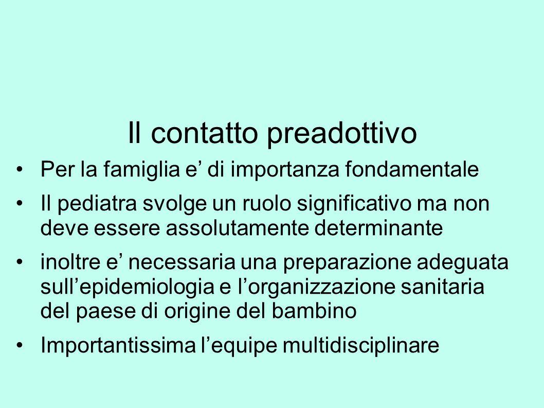 Il contatto preadottivo Per la famiglia e' di importanza fondamentale Il pediatra svolge un ruolo significativo ma non deve essere assolutamente deter