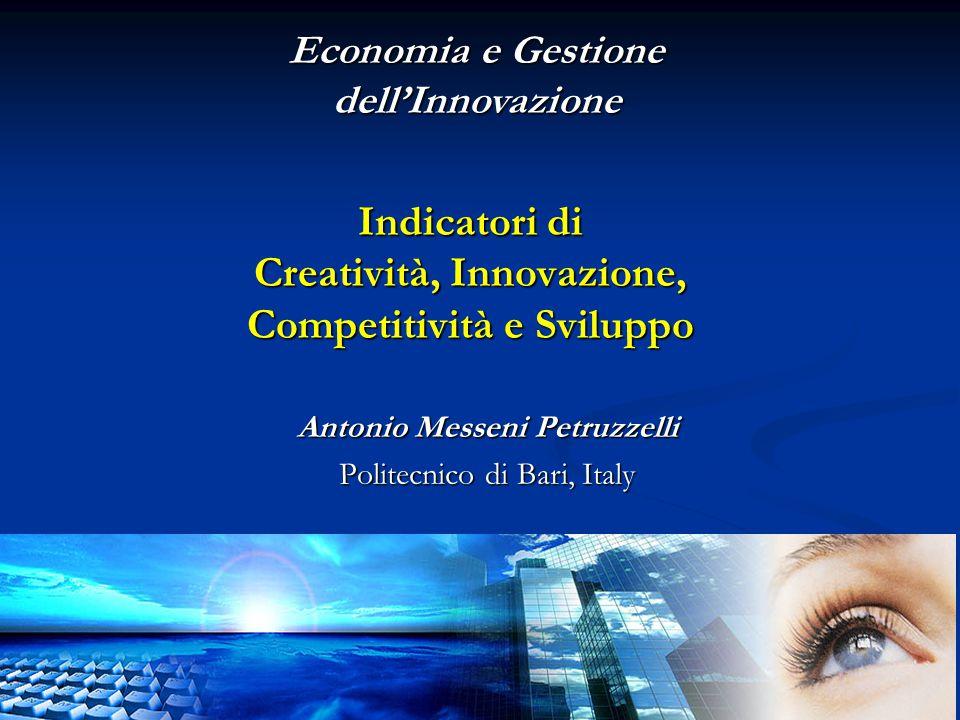 Antonio Messeni Petruzzelli Politecnico di Bari, Italy Economia e Gestione dell'Innovazione Indicatori di Creatività, Innovazione, Competitività e Sviluppo Indicatori di Creatività, Innovazione, Competitività e Sviluppo
