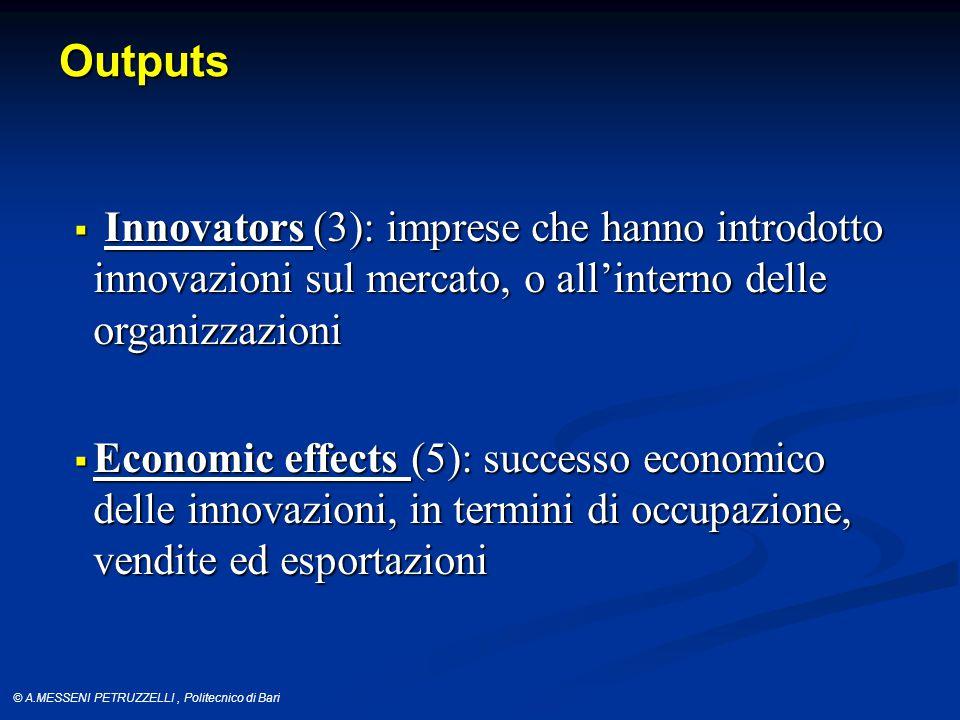 © A.MESSENI PETRUZZELLI, Politecnico di Bari Outputs  Innovators (3): imprese che hanno introdotto innovazioni sul mercato, o all'interno delle organizzazioni  Economic effects (5): successo economico delle innovazioni, in termini di occupazione, vendite ed esportazioni