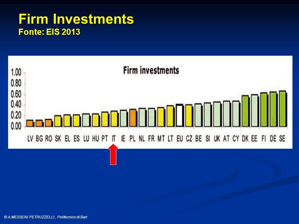 © A.MESSENI PETRUZZELLI, Politecnico di Bari Firm Investments Fonte: EIS 2013