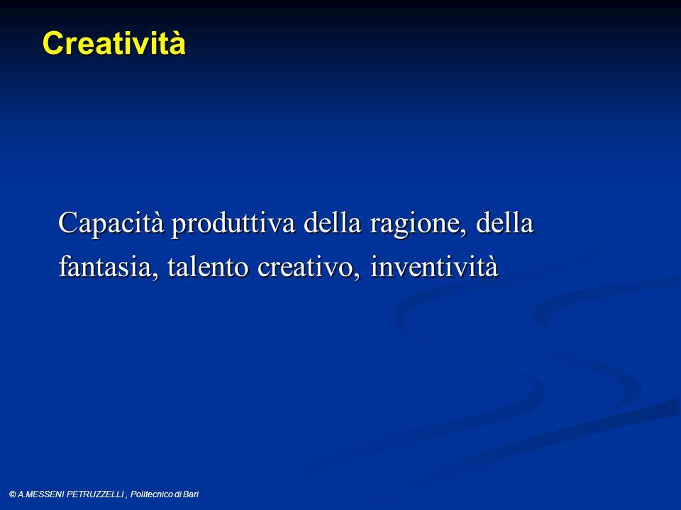 Creatività Capacità produttiva della ragione, della fantasia, talento creativo, inventività