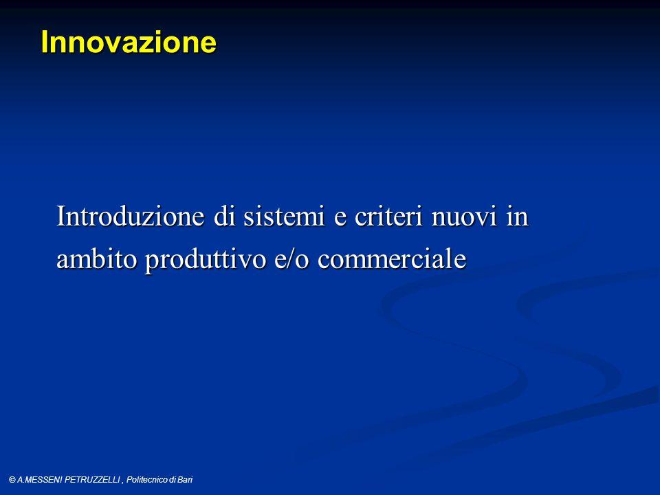 © A.MESSENI PETRUZZELLI, Politecnico di Bari Innovazione Introduzione di sistemi e criteri nuovi in ambito produttivo e/o commerciale