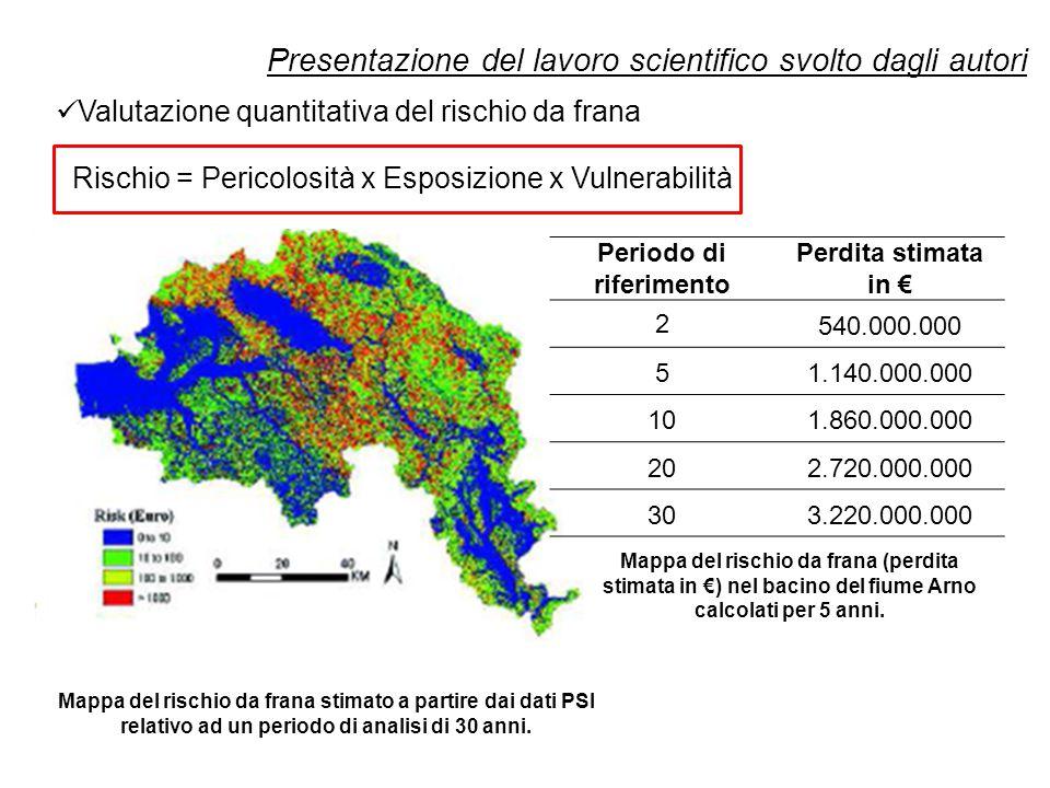 Presentazione del lavoro scientifico svolto dagli autori Valutazione quantitativa del rischio da frana Rischio = Pericolosità x Esposizione x Vulnerabilità Mappa del rischio da frana stimato a partire dai dati PSI relativo ad un periodo di analisi di 30 anni.