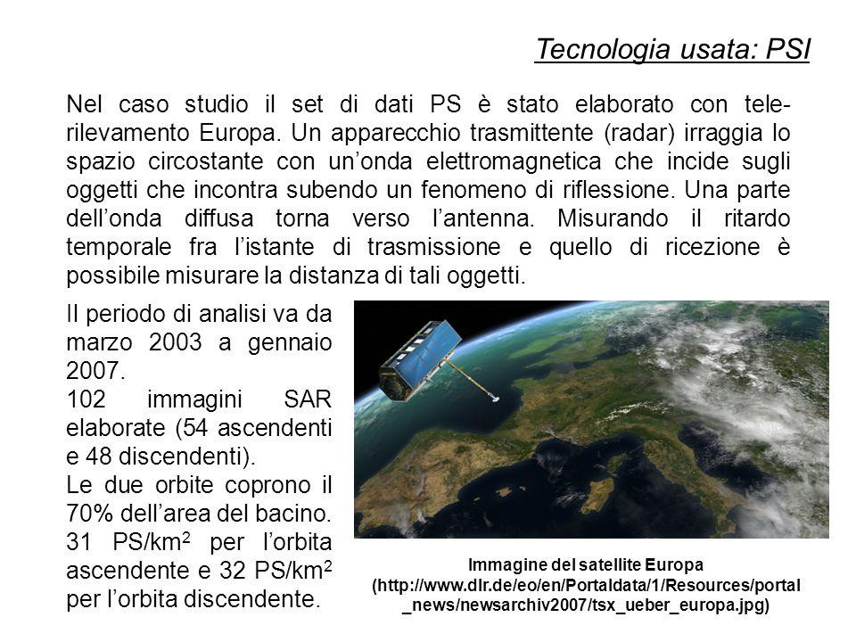 Tecnologia usata: PSI Nel caso studio il set di dati PS è stato elaborato con tele- rilevamento Europa.
