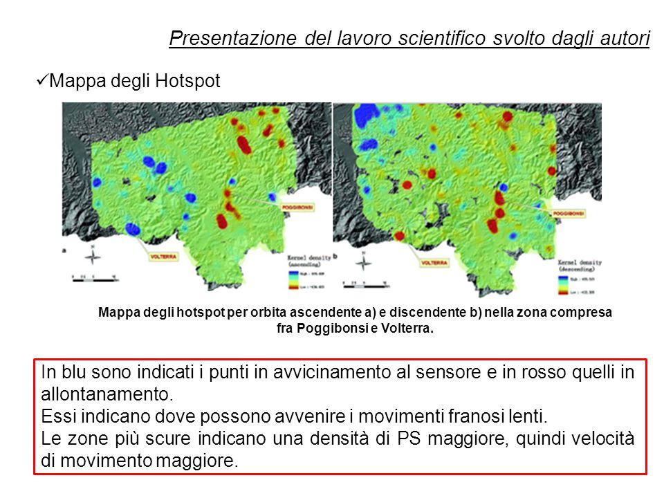 Presentazione del lavoro scientifico svolto dagli autori In blu sono indicati i punti in avvicinamento al sensore e in rosso quelli in allontanamento.