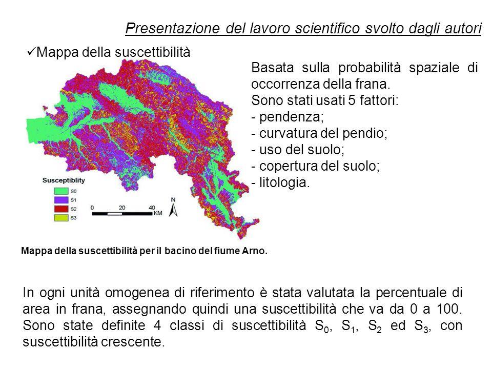 Presentazione del lavoro scientifico svolto dagli autori In ogni unità omogenea di riferimento è stata valutata la percentuale di area in frana, assegnando quindi una suscettibilità che va da 0 a 100.