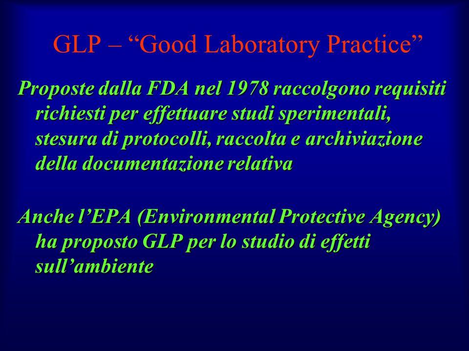 """GLP – """"Good Laboratory Practice"""" Proposte dalla FDA nel 1978 raccolgono requisiti richiesti per effettuare studi sperimentali, stesura di protocolli,"""