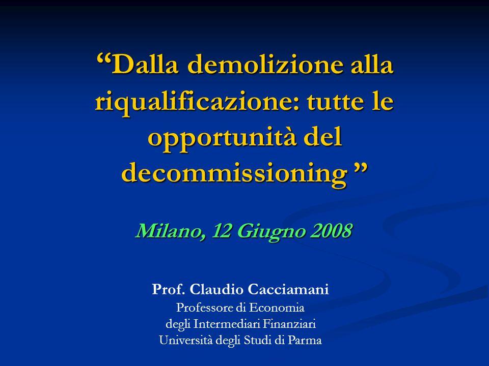 Dalla demolizione alla riqualificazione: tutte le opportunità del decommissioning Milano, 12 Giugno 2008 Prof.