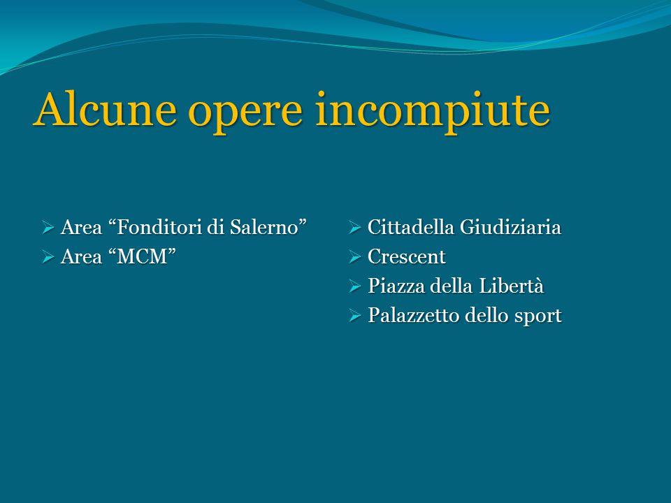 Alcune opere incompiute  Area Fonditori di Salerno  Area MCM  Cittadella Giudiziaria  Crescent  Piazza della Libertà  Palazzetto dello sport