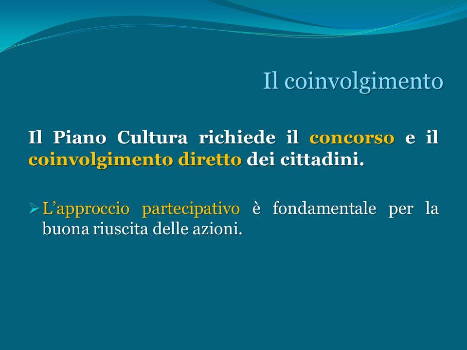 Il coinvolgimento Il Piano Cultura richiede il concorso e il coinvolgimento diretto dei cittadini.