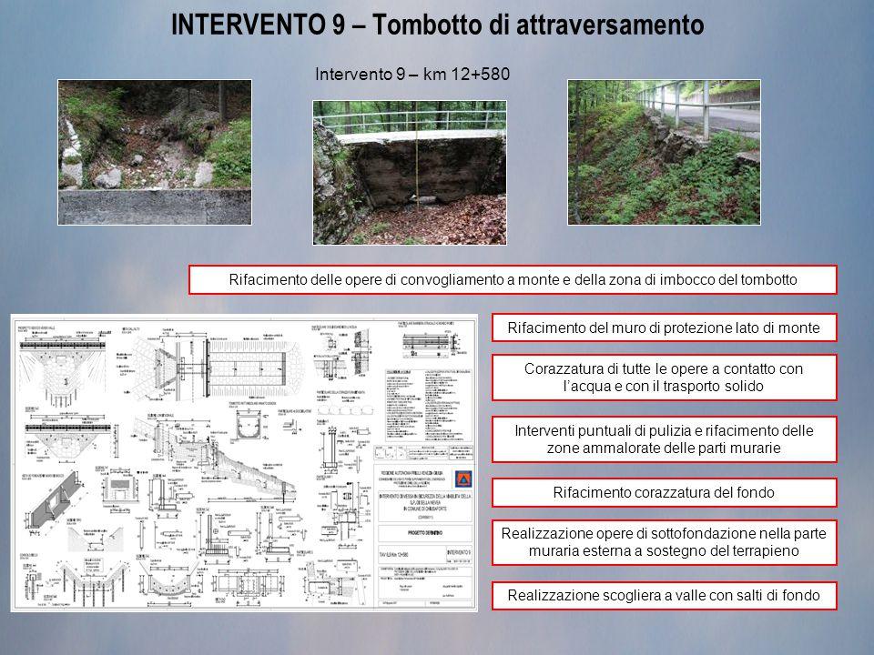 INTERVENTO 9 – Tombotto di attraversamento Intervento 9 – km 12+580 Rifacimento delle opere di convogliamento a monte e della zona di imbocco del tomb