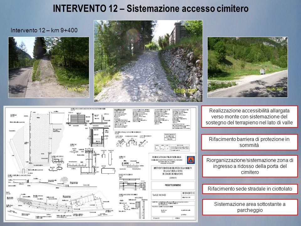 INTERVENTO 12 – Sistemazione accesso cimitero Intervento 12 – km 9+400 Realizzazione accessibilità allargata verso monte con sistemazione del sostegno