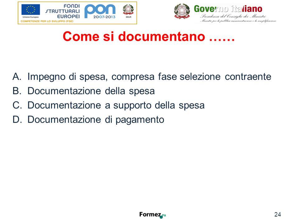 Come si documentano …… A.Impegno di spesa, compresa fase selezione contraente B.Documentazione della spesa C.Documentazione a supporto della spesa D.Documentazione di pagamento 24