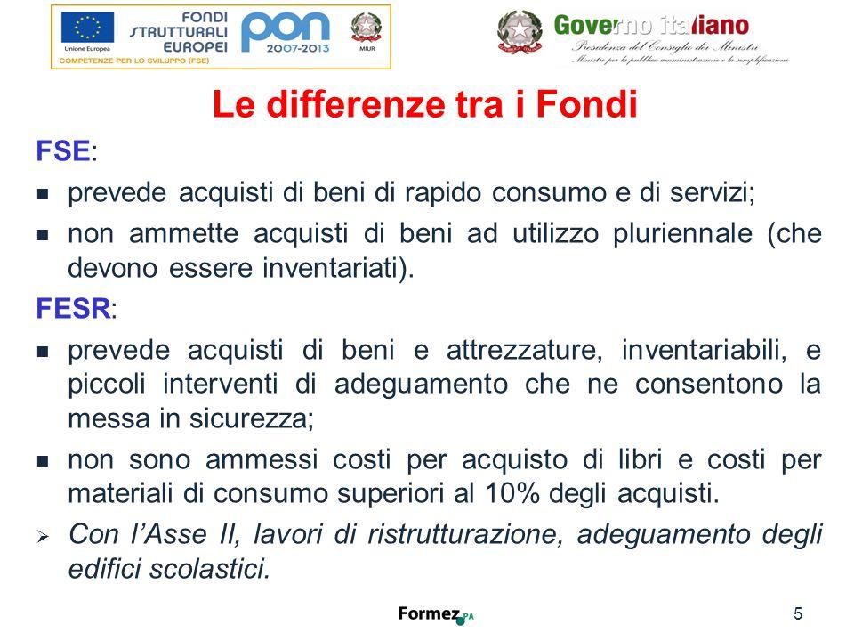 Le differenze tra i Fondi FSE: prevede acquisti di beni di rapido consumo e di servizi; non ammette acquisti di beni ad utilizzo pluriennale (che devono essere inventariati).