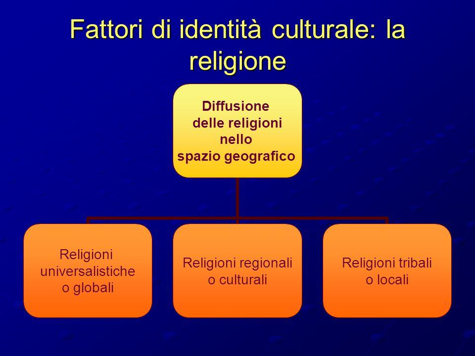 Fattori di identità culturale: la religione Diffusione delle religioni nello spazio geografico Religioni universalistiche o globali Religioni regional