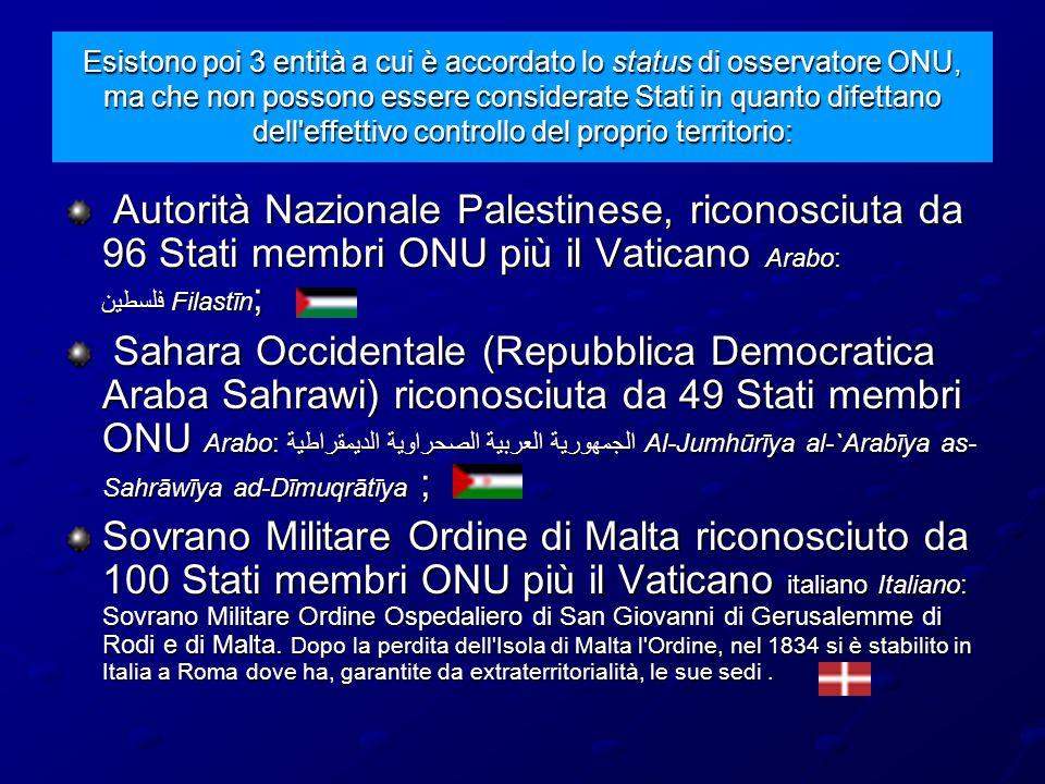 Esistono poi 3 entità a cui è accordato lo status di osservatore ONU, ma che non possono essere considerate Stati in quanto difettano dell'effettivo c