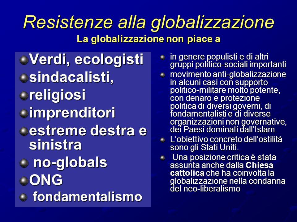 Resistenze alla globalizzazione La globalizzazione non piace a Verdi, ecologisti sindacalisti,religiosiimprenditori estreme destra e sinistra no-globa